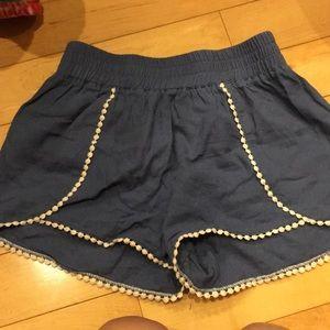 Women's Sz S Blue High Waisted Cotton Shorts